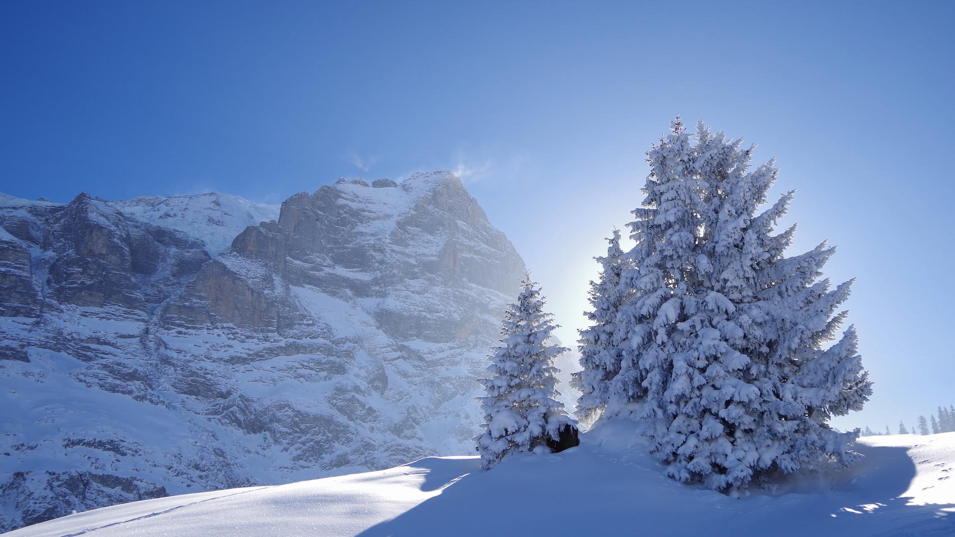 Eingefrorenes Alpenglühen