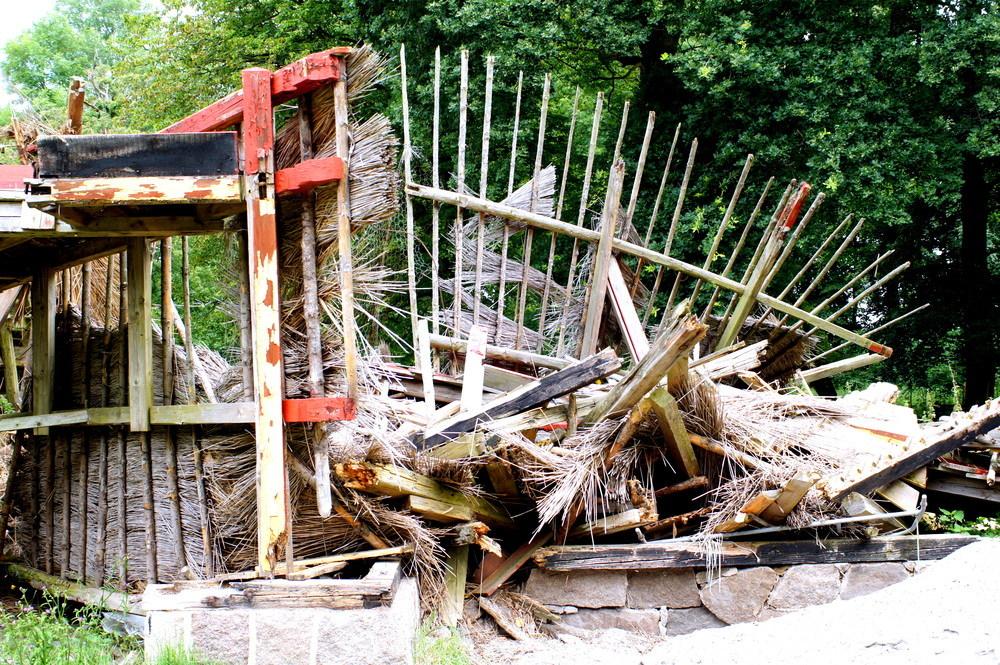 eingestürztes Haus in Dänemark