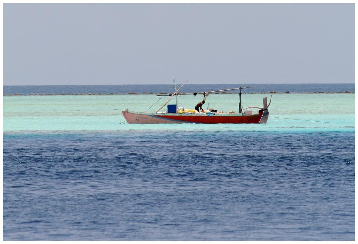 einheimischer Fischer am Riff gegenüber (gezoomt)