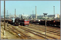 Einst 1979 munteres Treiben im Güterbahnhof Gera vom Führerstand aus fotografiert