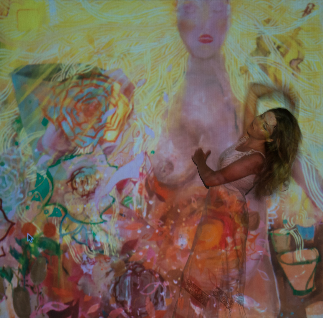 eintauchende Malerin