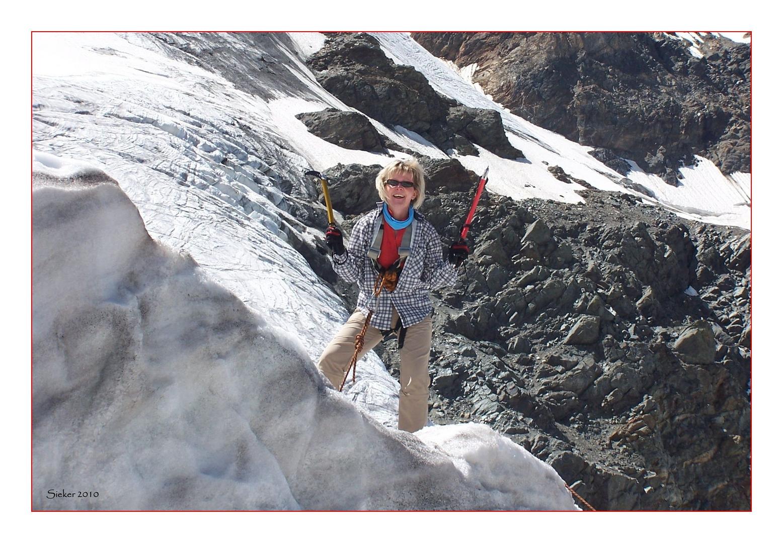 Eisklettern auf dem Sulden-Gletscher ...