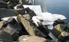 Eisschollen am Rheinhafen