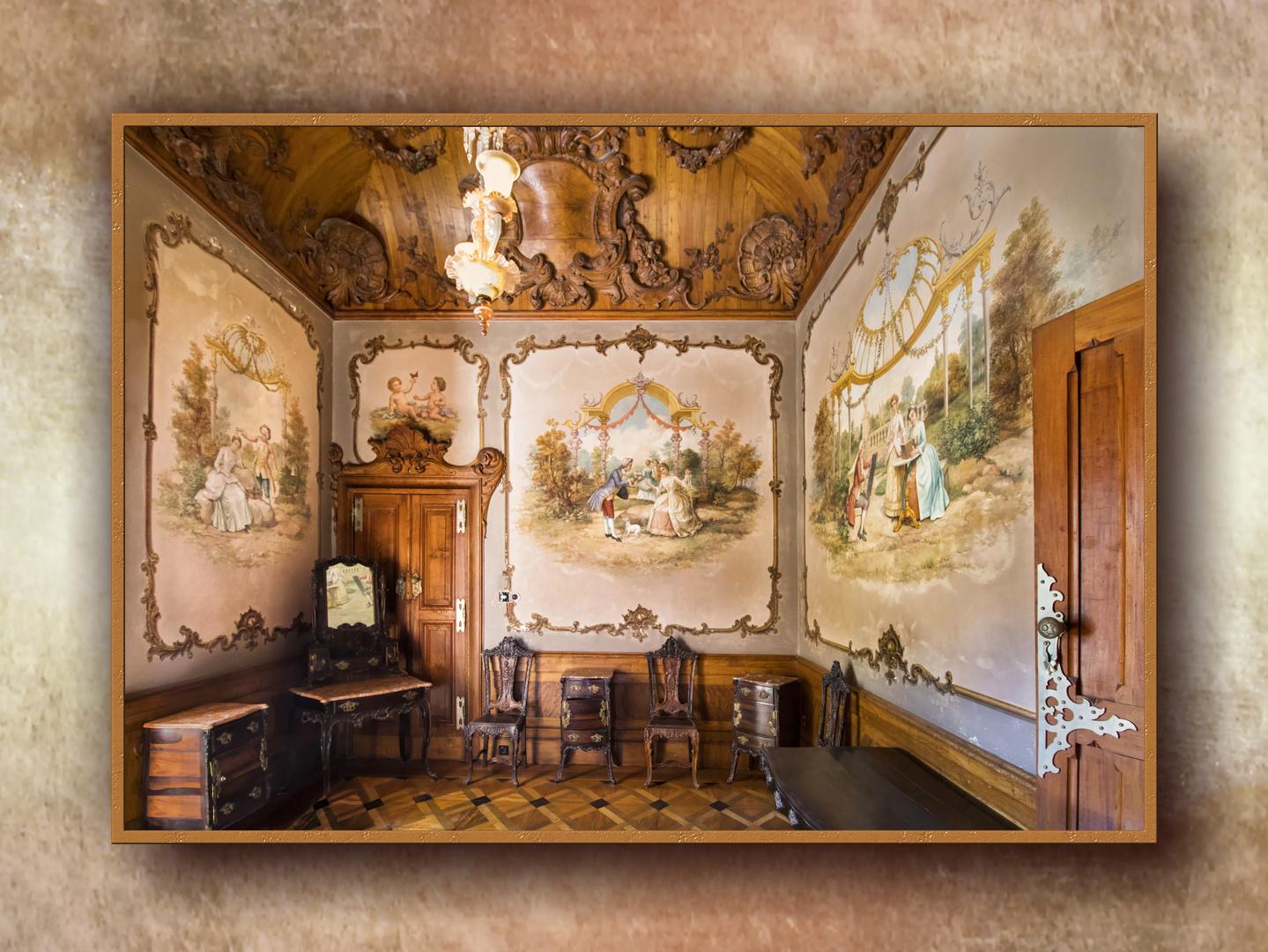 El pequeño salón. Interior del palacio de Regaleira, Sintra.