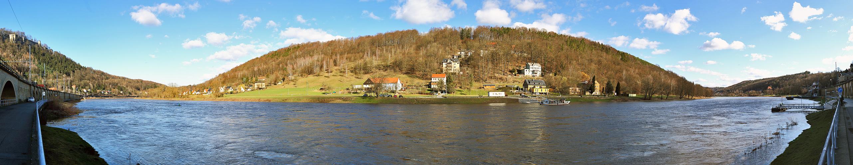 Elbe bei Königstein im Panorama 180 Grad und mit über 3 Metern...