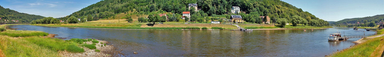 Elbe mit Niedrigwasser am 22. 6. bei Königstein