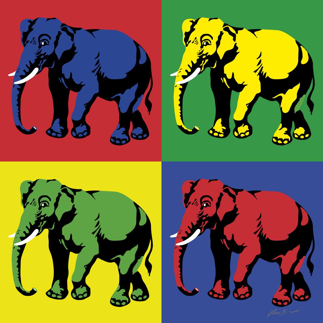 Elefantenherde Im Stil Von Andy Warhol Foto Bild Art Grafik