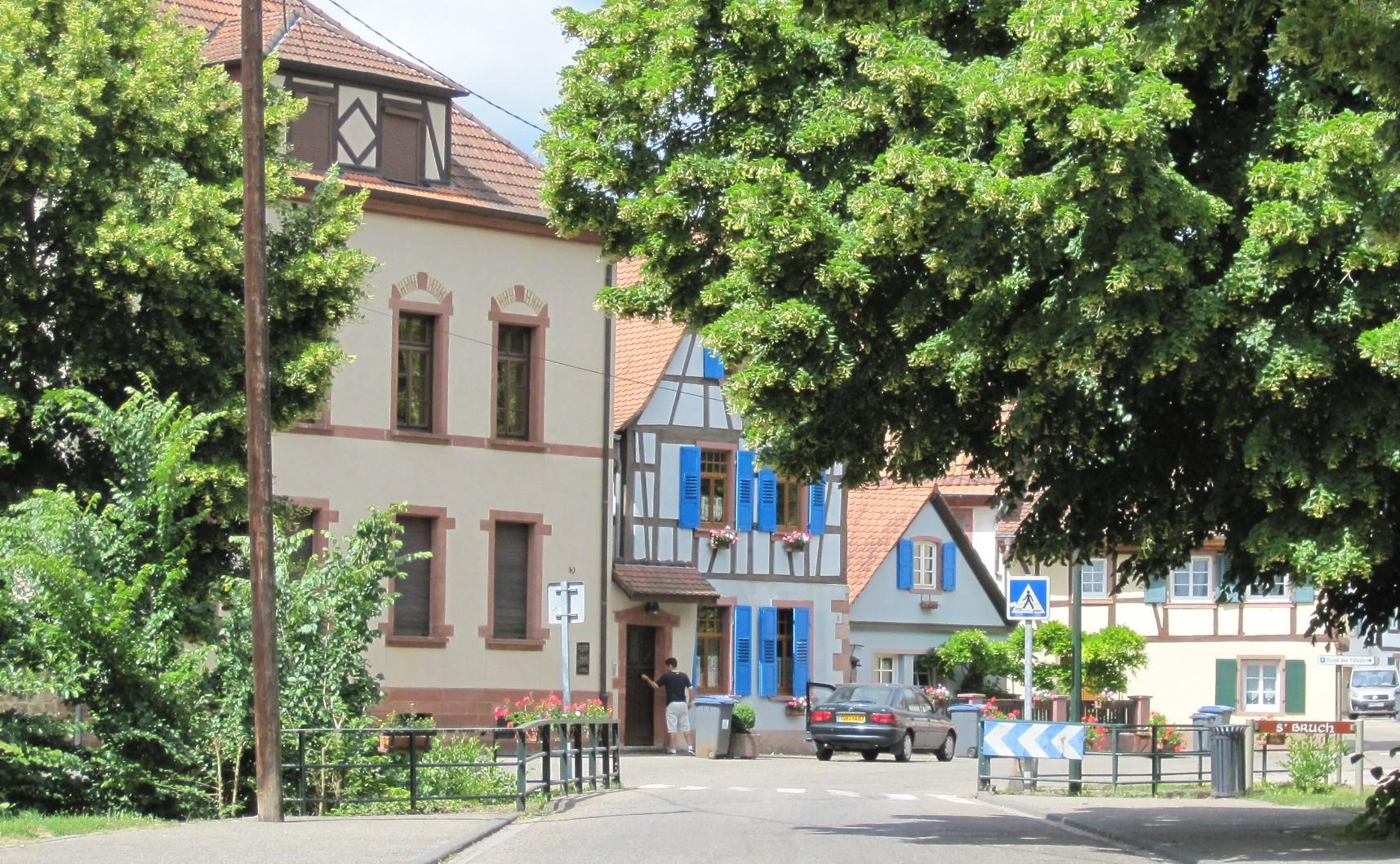 Elsass - blaue Tonne in Grün