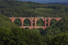 Elstertalbrücke mit Strommasten und Vogtlandbahn