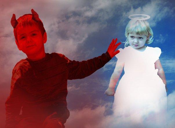 Engel und Teufel Foto & Bild | fotomontage, fantasy