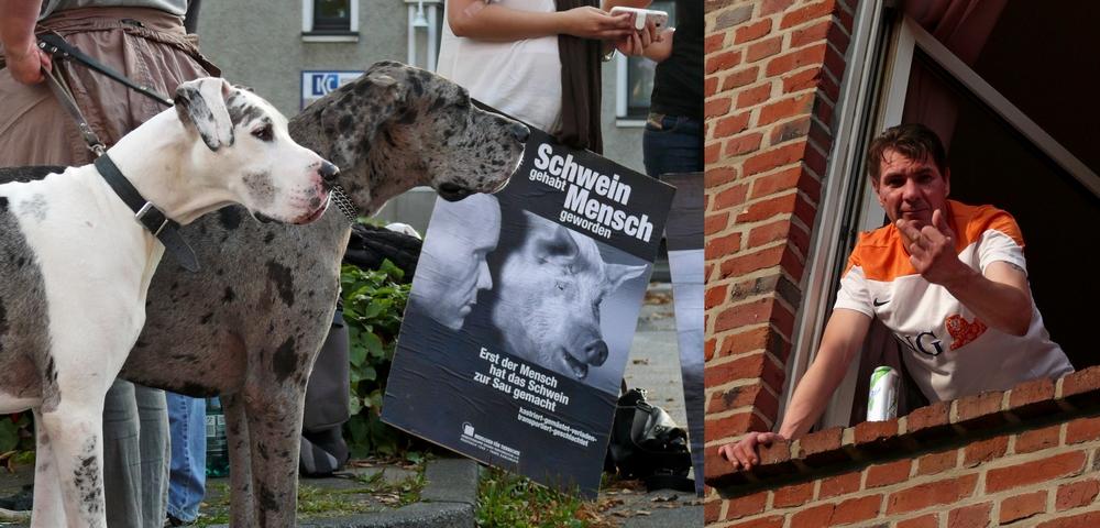 Erste Mahnwache vor dem Viersener Schlachthof am 19.09.2014