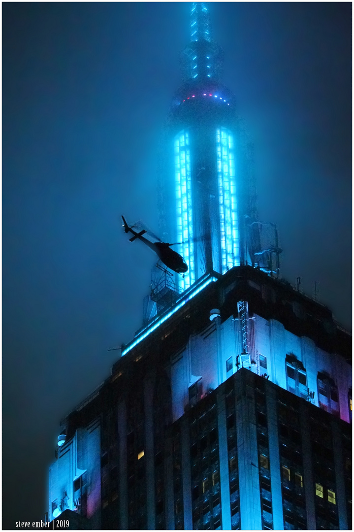 ESB Night No.11 - Spire and Chopper on a Misty Night