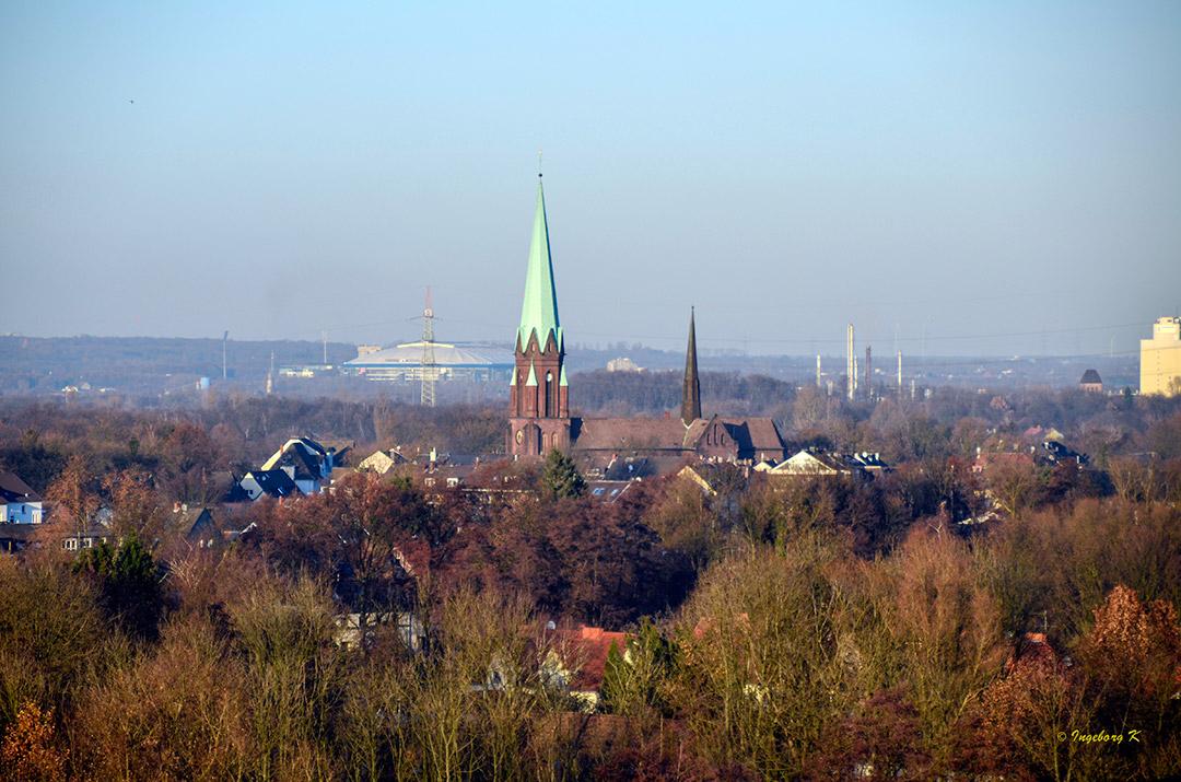 Essen - Kokerei Zollverein - Blick auf die Stadt