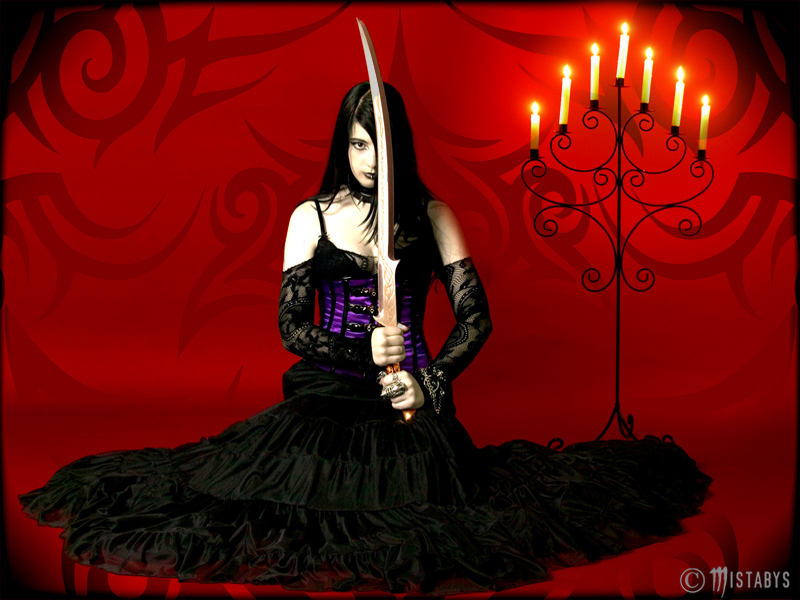 evil lady: goth girl with sword wallpaper