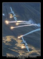 F/A-18 Hornets with flares over Axalp 2010 - Switzerland