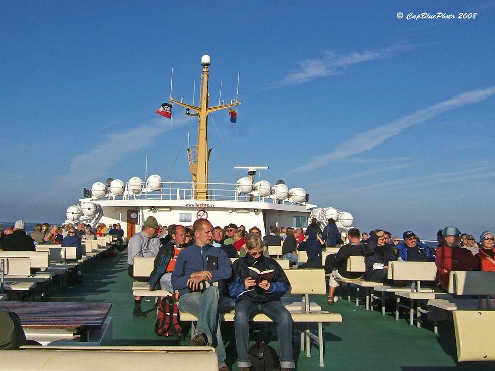 Fährfahrt zwischen Amrum und Föhr