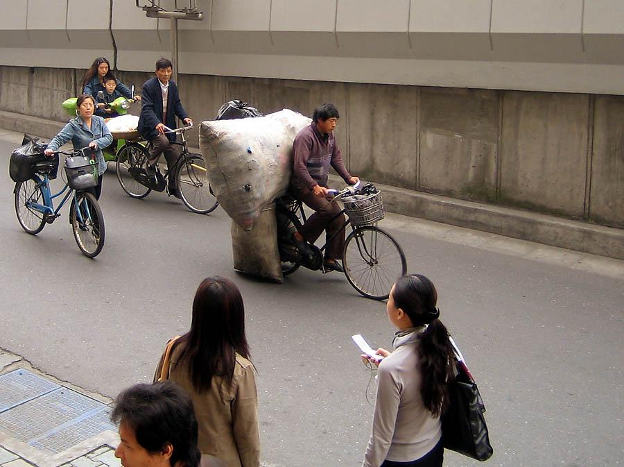 Fahrrad-Schwertransporter in Hangzhou