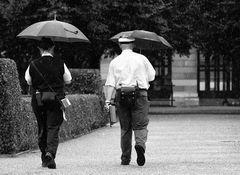 Falsch-Parkwächter im Regen