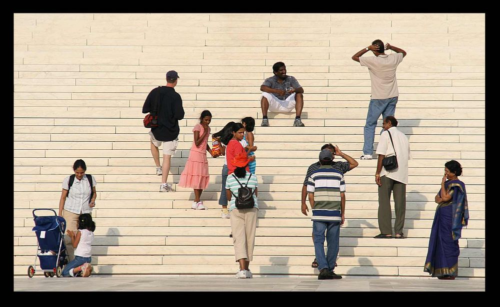 Familie on the Prime Court stairs