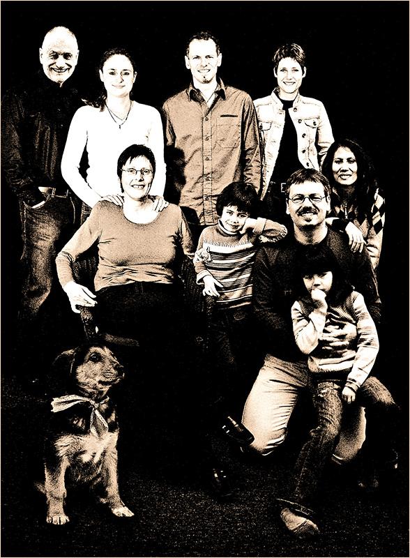 Familien-Porträt mit Xmas Hund II