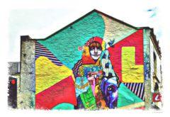 - farbenfrohe Wand-Kunst von der Insel Jersey -