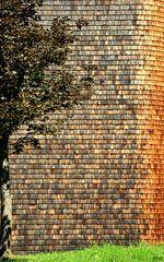 Fassadenverkleidung mit Holzschindeln