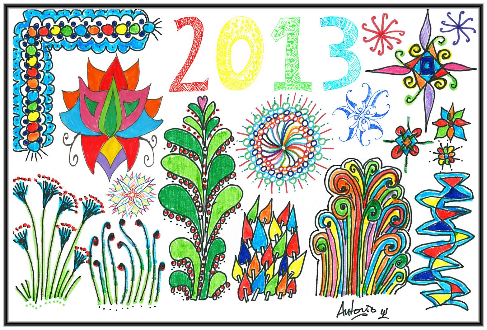 Feliz Año Nuevo 2013 - Happy New Year 2013 - Colour Zentangle.