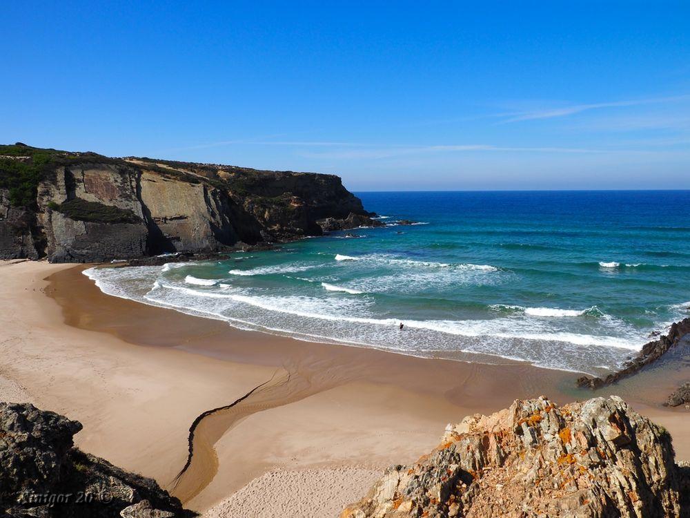 Felsen, Meer, Sand Foto & Bild   europe, portugal