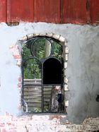 Fenster zum Hof im Gartencafe in Süderdeich