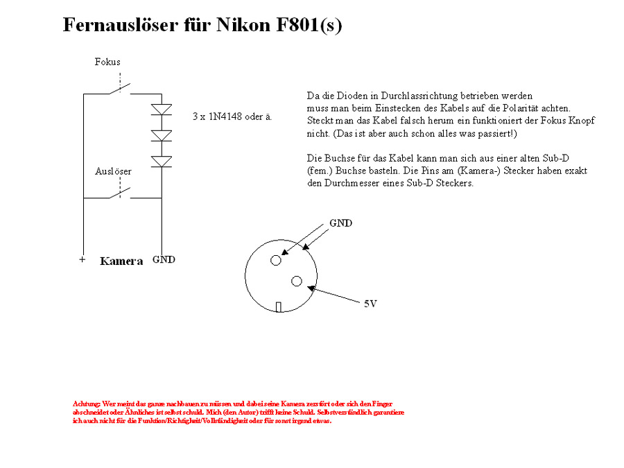 Fernauslöser Nikon F801(s)