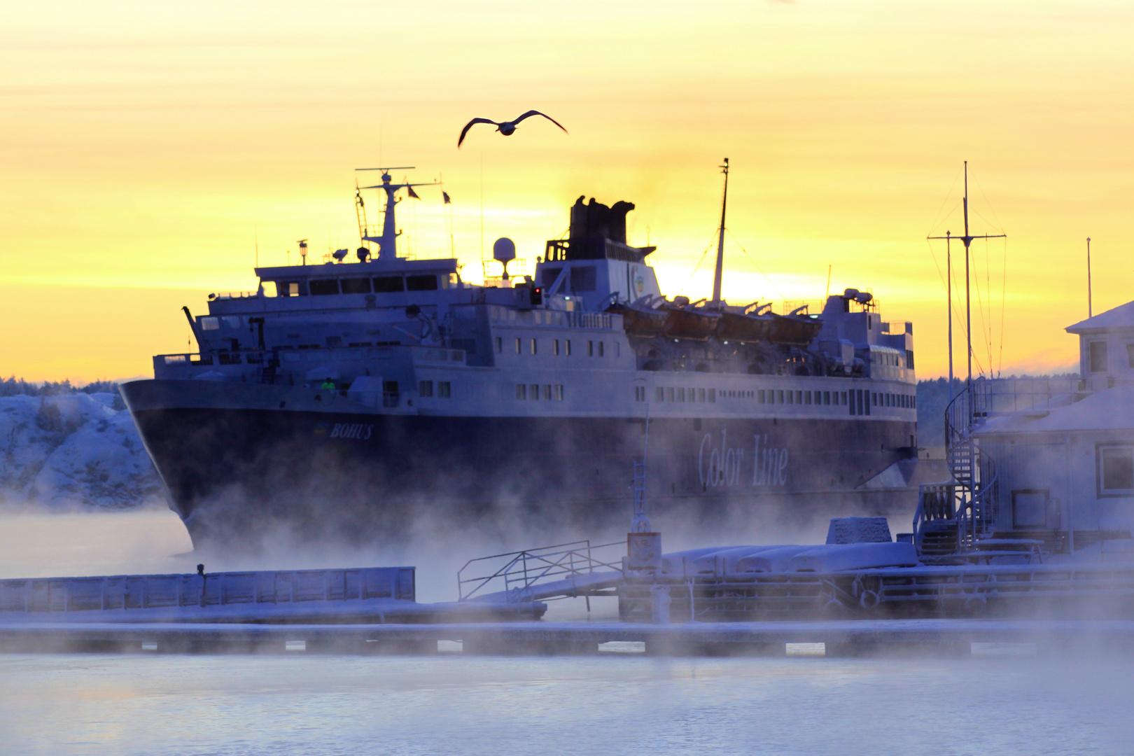 Ferry on ice