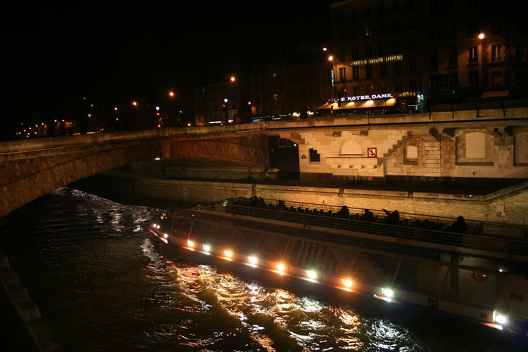 Ferry Under Paris Bridge
