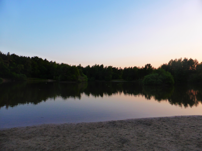 Feuerlöschteich, Holmer Sandberge, Sonnenuntergang