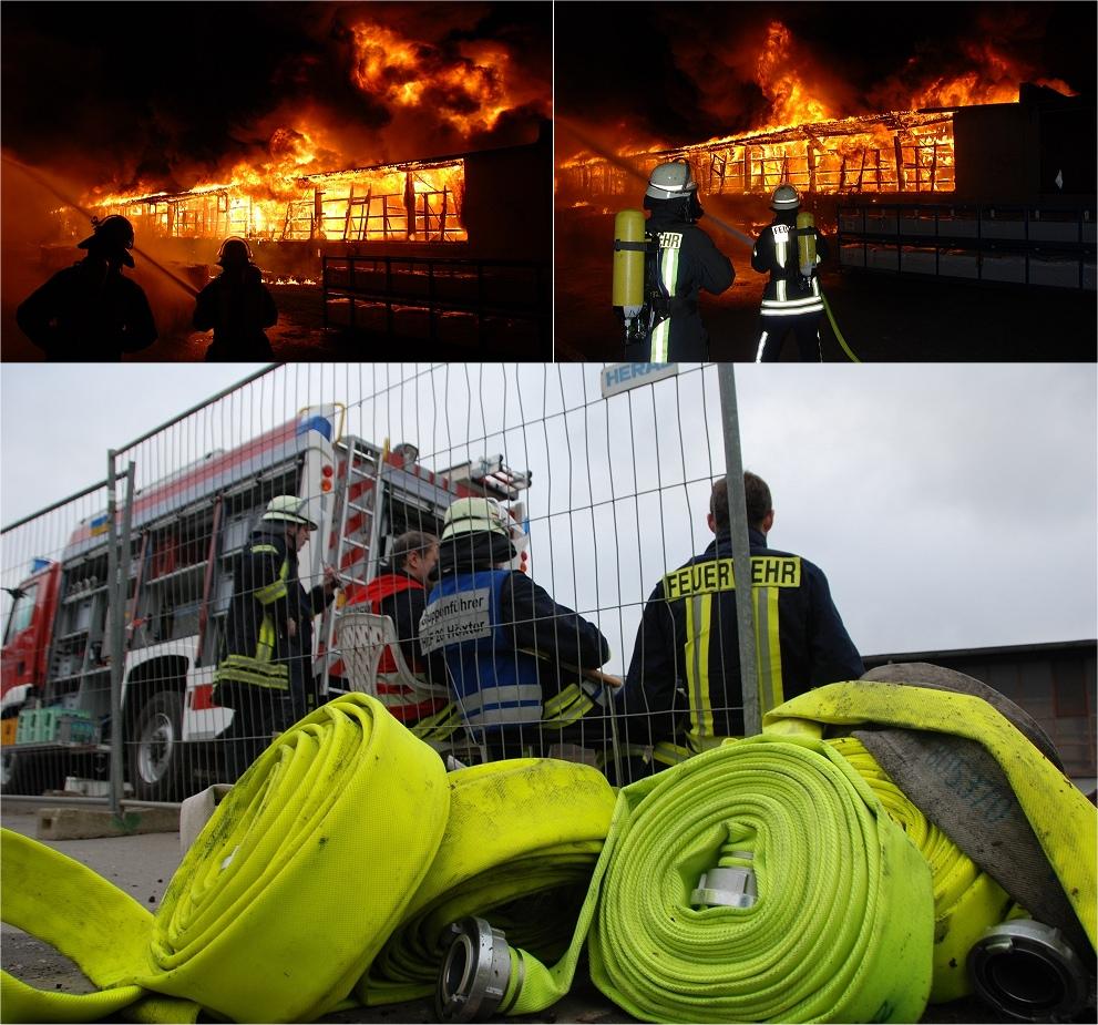 Feuerwehr HÖXTER im EINSATZ - Großbrand - Materialschlacht 14.11.2014