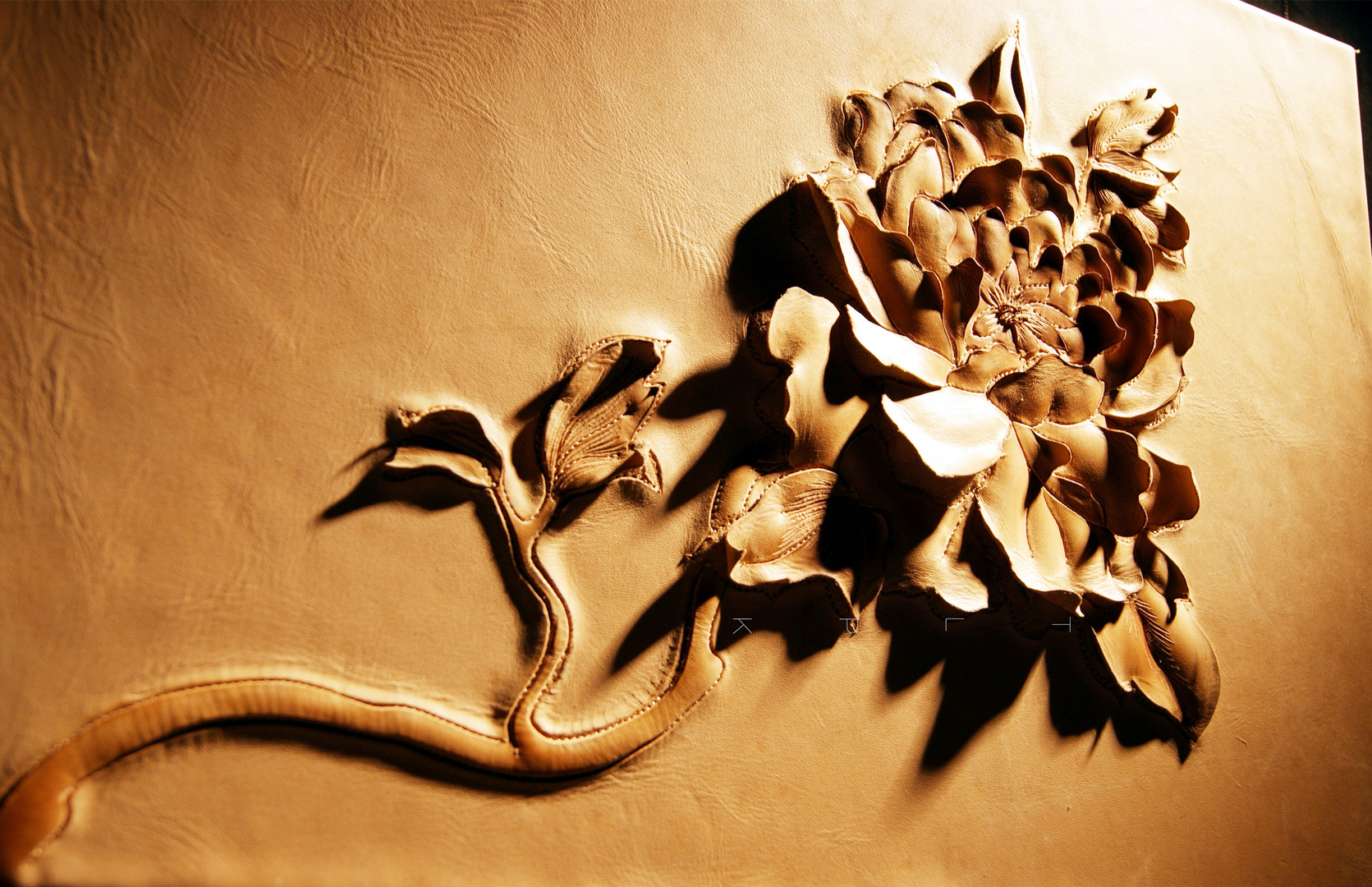 Fine leather carving—Peony