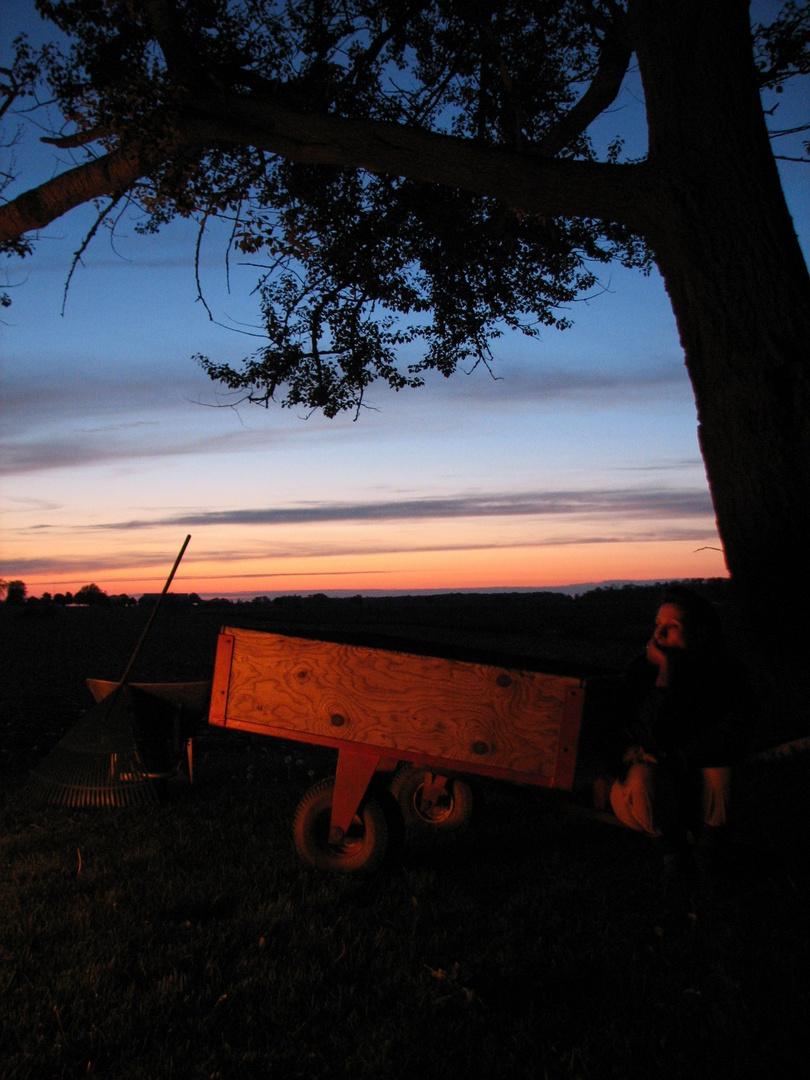 Firelight at sunset