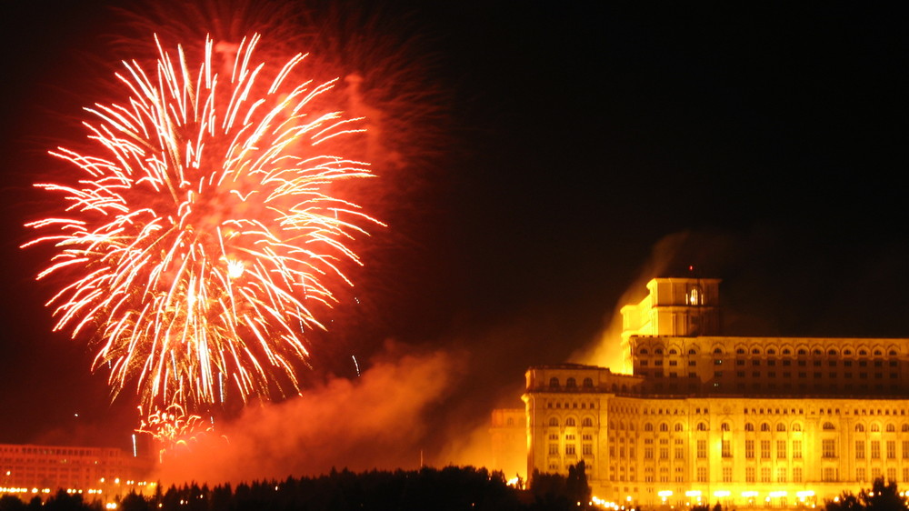 Fireworks in front of the Romanian House of Parliament