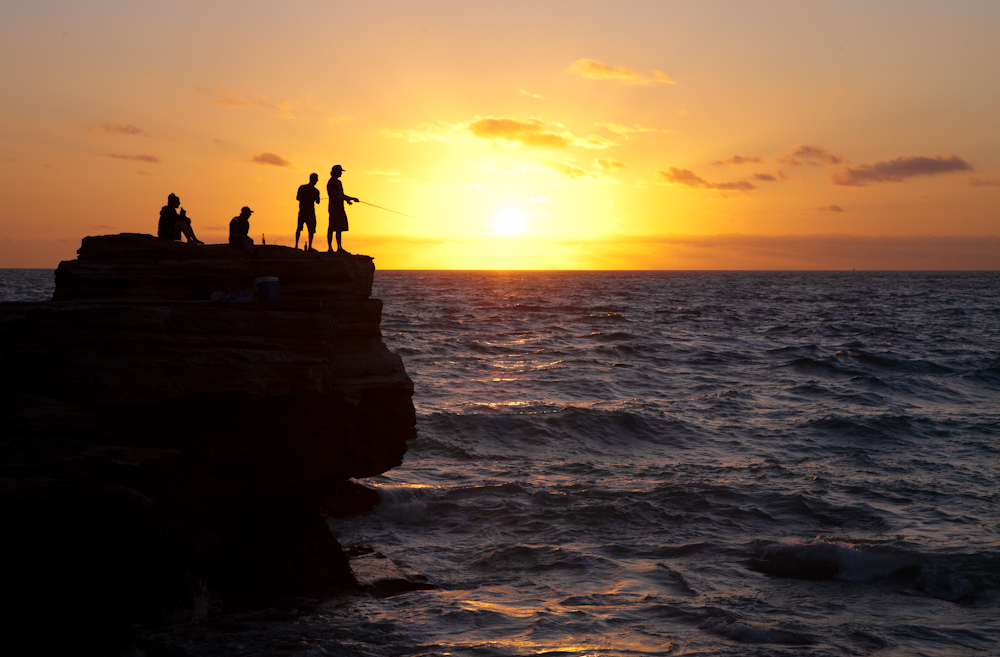 Fischen bei Sonnenuntergang