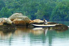 Fischer in der Koggala Lagoon