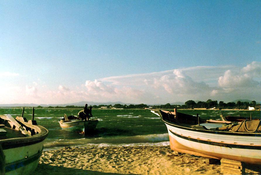Fischerboote am Strand von Hammamet