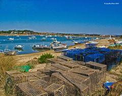 Fischerboote, Fischerreusen im Hafen von Alvor Algarve