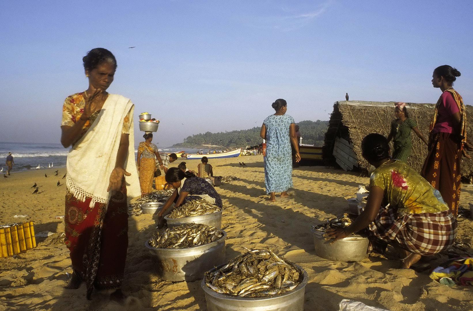 Fischerfrauen in Kerala, Indien - analog