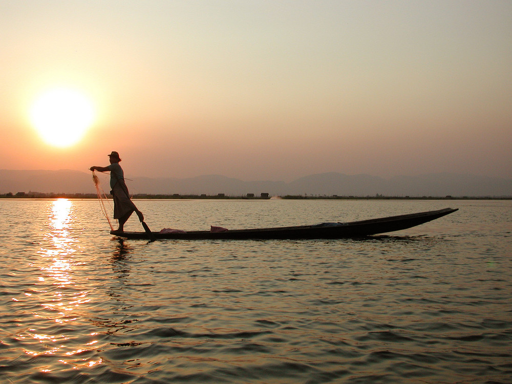 Fisher at work in Inle Sea in Myanmar