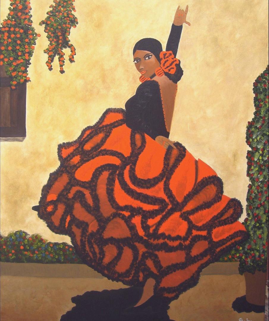 flamenco gemalt in acryl foto bild kunstfotografie kultur gem lde skulpturen gem lde. Black Bedroom Furniture Sets. Home Design Ideas