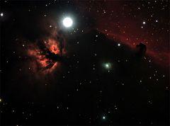 Flammen- mit dem Pferdekopfnebel im Orion.
