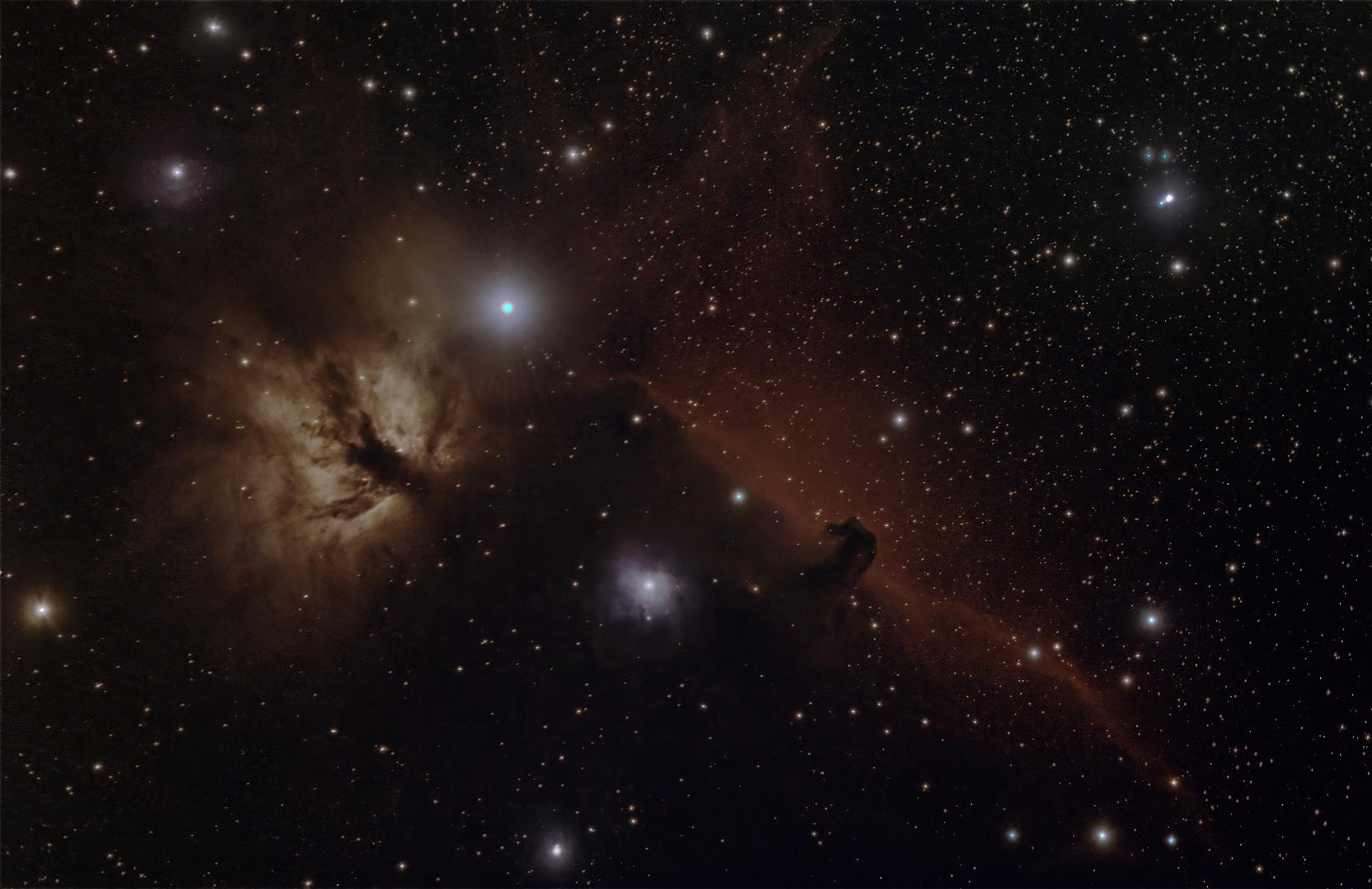 Flammennebel und Pferdekopfnebel im Sternbild Orion