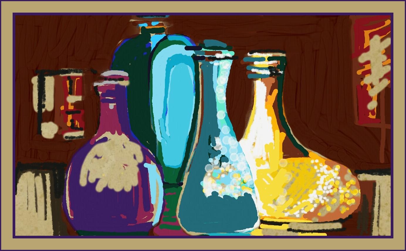 Flaschensammlung im Oktoberlicht