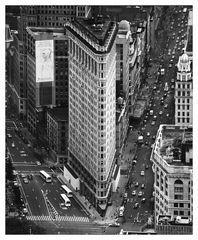 flat iron building black & white