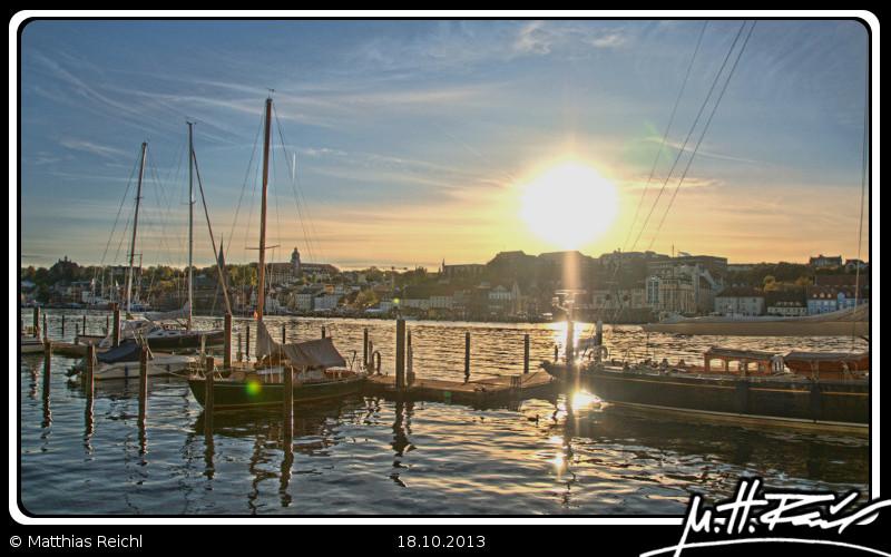 Flensburger Hafen am frühen Abend