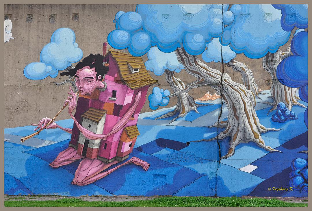 Flötenspieler - Graffiti - Rheinparkcenter Duisburg